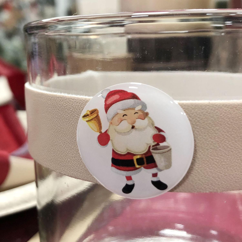 Sticker Père Noël sur un verre