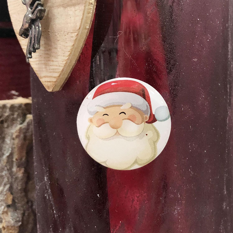 Sticker rond tête de Père Noël