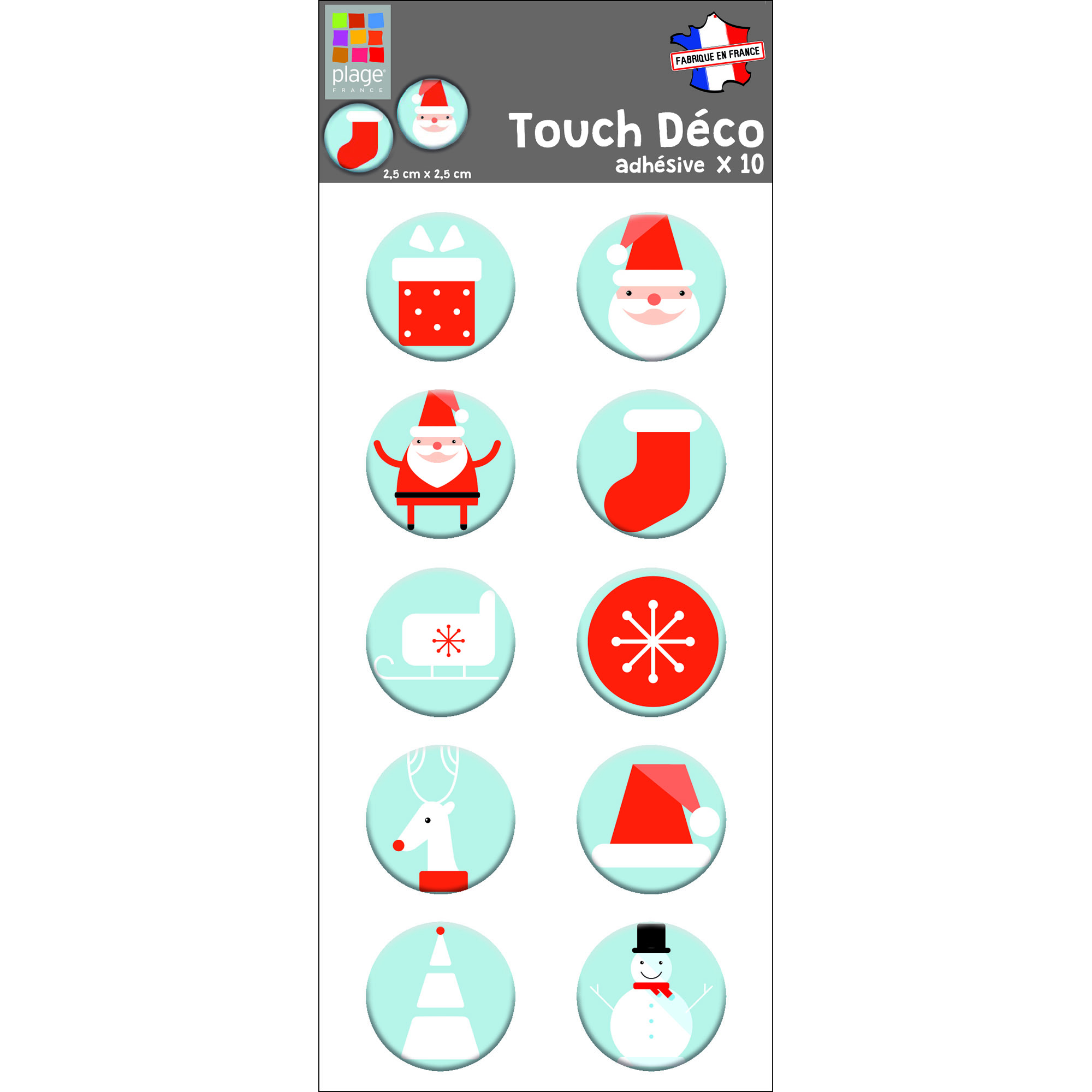 Sticker 3D Père Noël bonhomme de neige