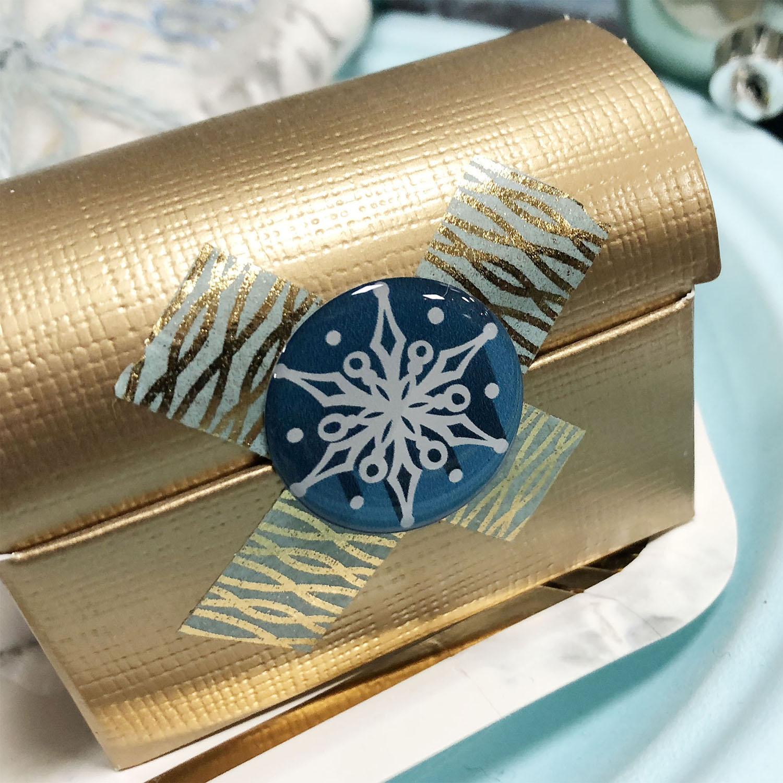 Déco relief adhésive flocon de neige bleu