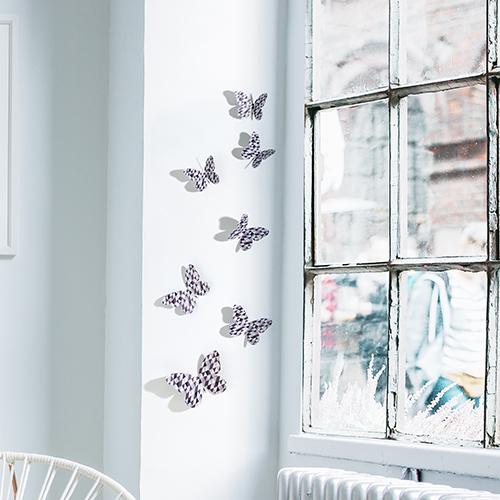 déco 3D papillons noir et blanc