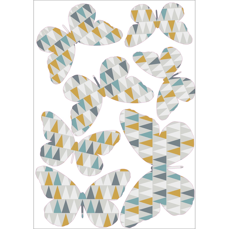 Sticker décoratif mural papillons en 3D modèle à triangles bleus gris et oranges