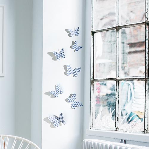 Sticker mural Papillons scandinave chevrons 3D sur un rebord de fenêtre