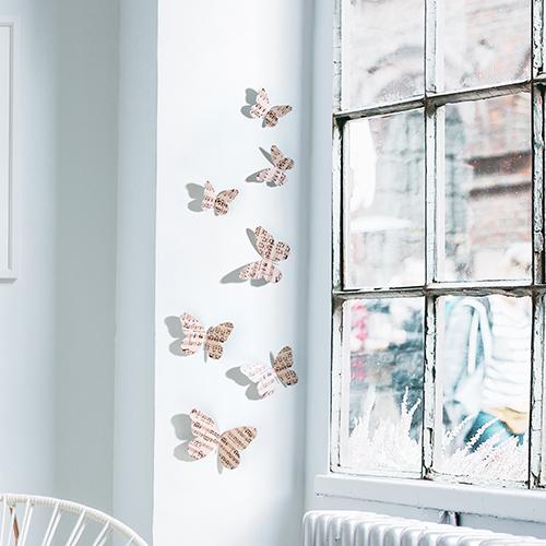 Sticker Papillons musique concerto déco murale sur un rebord de fenêtre