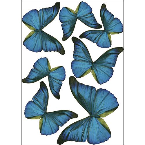 Sticker autocollant décoration en 3D avec des papillons bleu cobalt