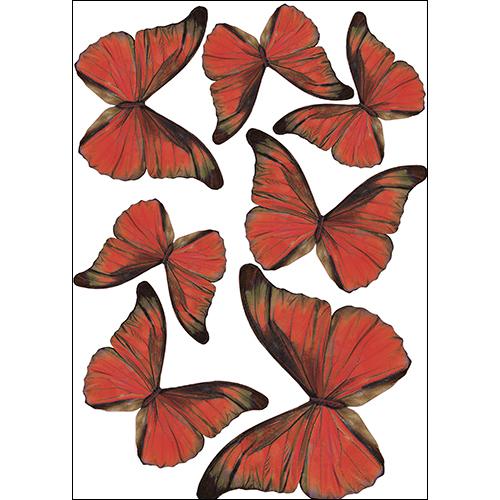 Sticker représentant des papillons rouge pour une déco 3D