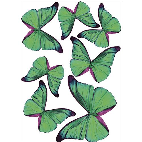 Sticker adhésif avec des papillons verts décoration en 3D