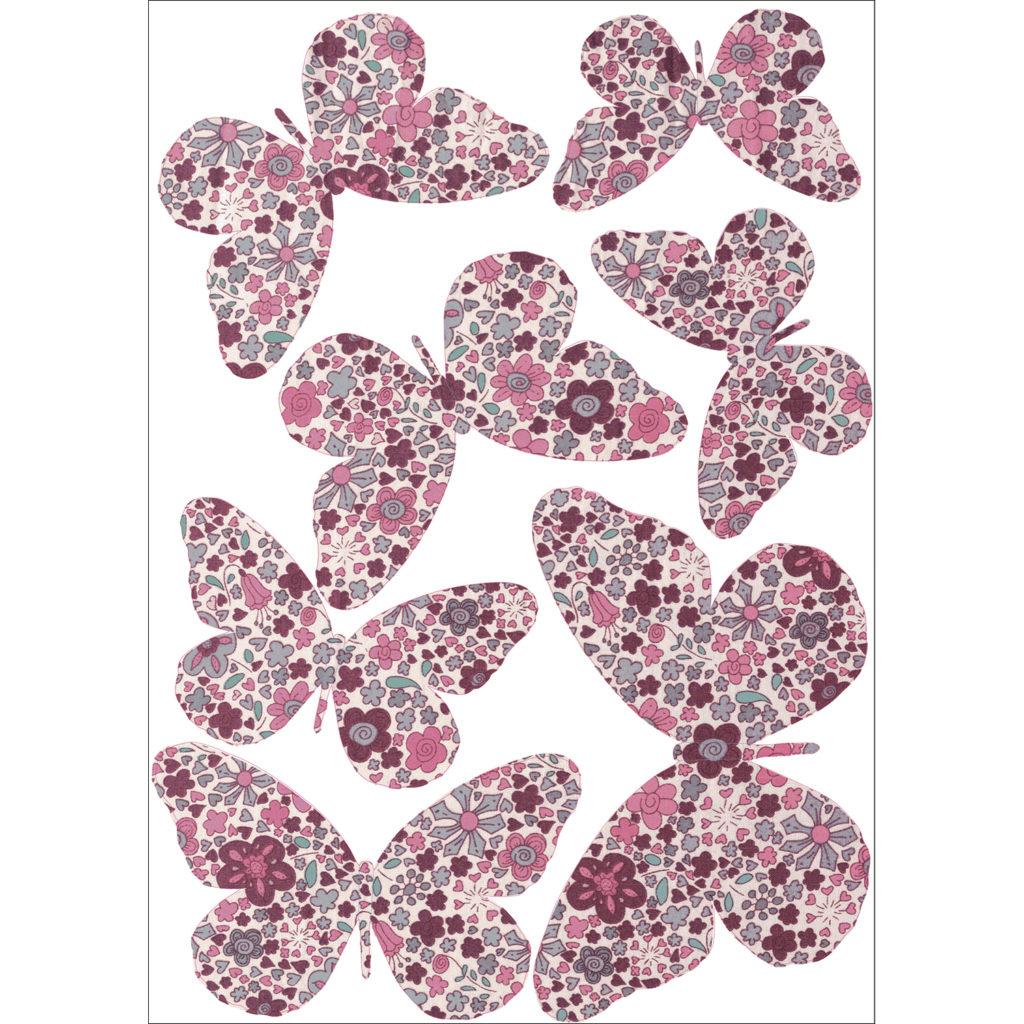 Sticker 3D papillon modèle à fleure roses