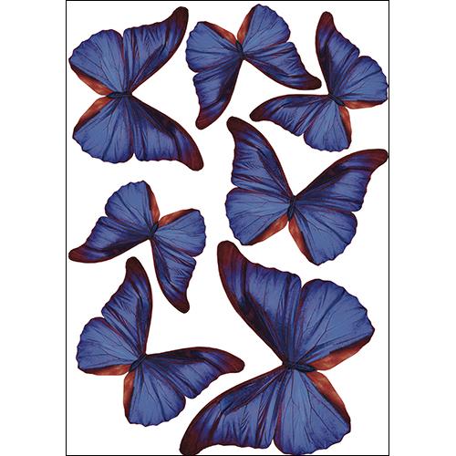 Sticker mural représentant des papillons bleu indigo décoration en 3D