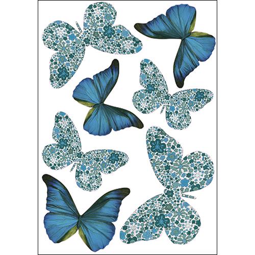 Sticker pour murs en 3D avec papillons bleu et liberty