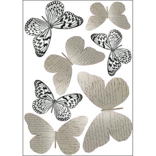 Stickers muraux 3D Papillons en noirs et blancs avec des papillons manuscrits