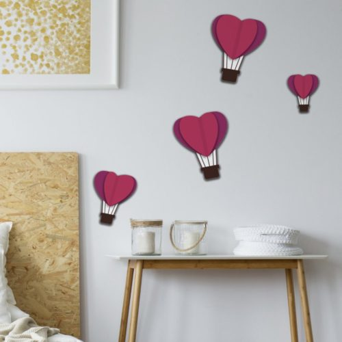 Autocollant décoration 3D montgolfières coeur violet pour mur blanc de chambre à coucher