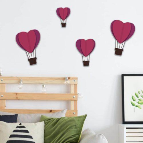 Adhésif décoration montgolfières coeur 3D violet pour mur blanc de chambre d'adulte