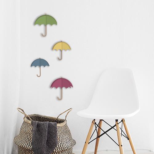Adhésif parapluies de couleurs 3D sticker déco pour mur blanc de salon