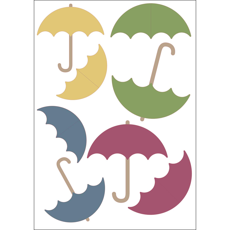 Sticker adhésif parapluies de couleurs 3D pour déco d'intérieur