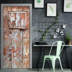 Sticker autocollant adhésif pour porte représentant une porte de grange dans un bureau style modern coworking