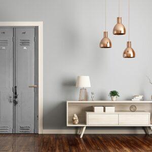 dans une ambiance moderne style ikea Autocollant pour porte Casiers effet trompe l'oeil en gris