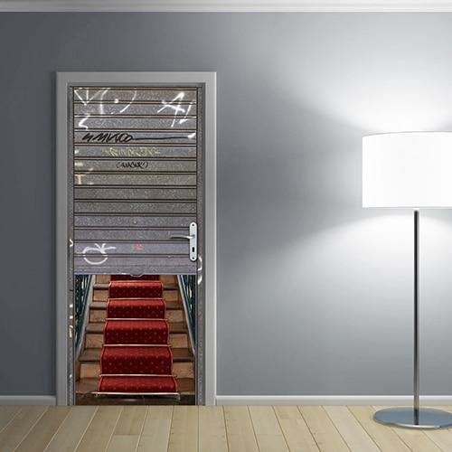 Sticker de porte garage avec tapis de luxe - effet trompe l'oeil