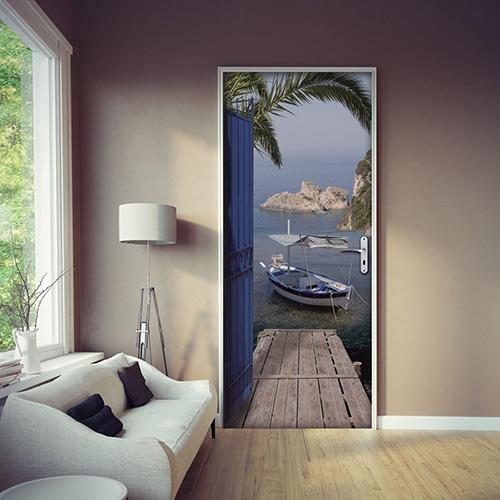 Sticker trompe l'oeil de porte avec vue sur mer dans un salon