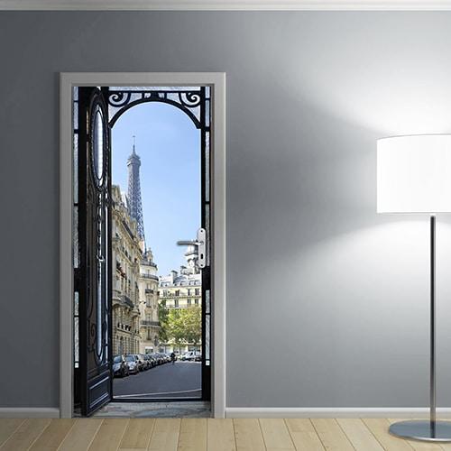Sticker porte de Rue Parisienne avec une lampe