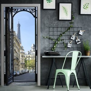 Sticker porte de Rue Parisienne près d'une table