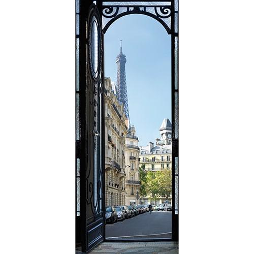 Sticker porte de Rue Parisienne vue sur la Tour Eiffel