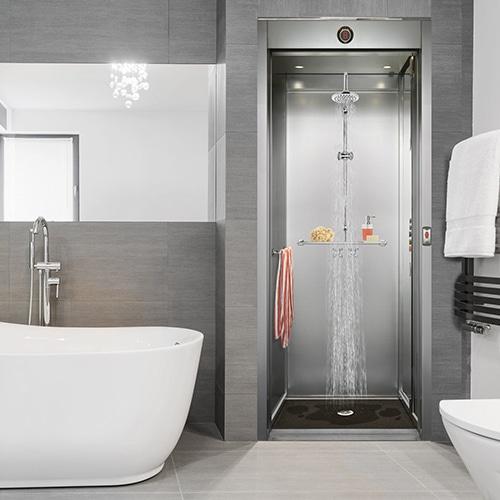 Sticker porte Ascenseur Douche dans une salle de bain