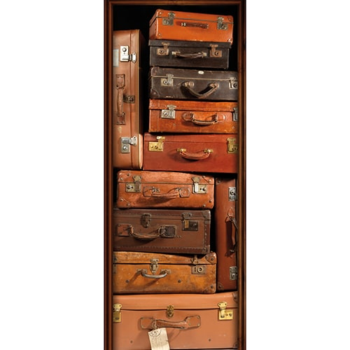 Sticker de porte trompe l'oeil Valises Vintages chiner brocante voyage marron cuir