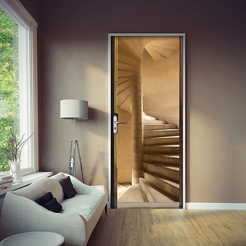sticker Escalier à vis pour porte dans un salon