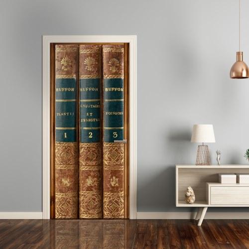 Adhésif de porte fausse bibliothèque livres anciens en trompe-l'oeil