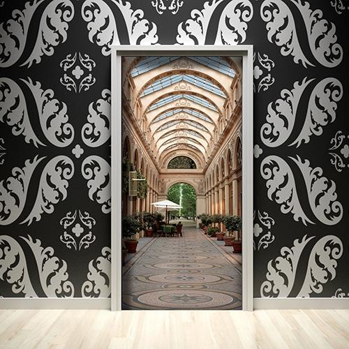 Sticker pour porte Grande Galerie sur mur noir et blanc avec de grands motifs ronds et classiques