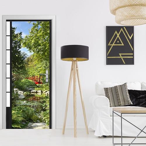sticker Jardin du Japon dans un salon avec lampe design