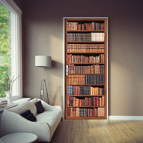 Autocollant porte d'une bibliothèque Livres Anciens dans un salon