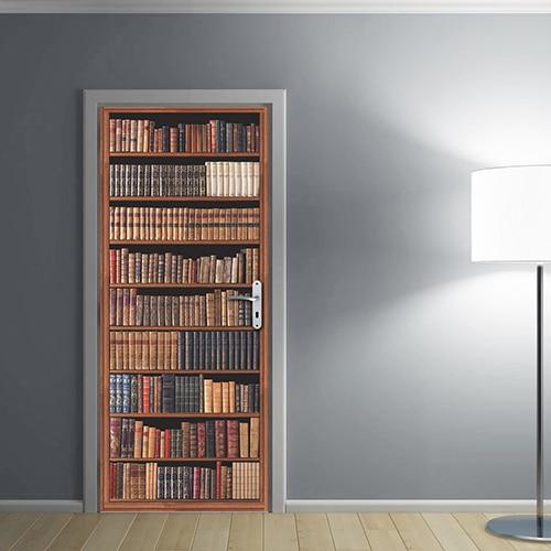 Sticker adhésif bibliothéque Livres Anciens collé sur une porte