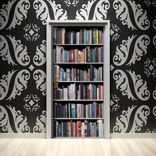Adhésif de porte fausse Bibliothéques de livres modernes en trompe-l'oeil.