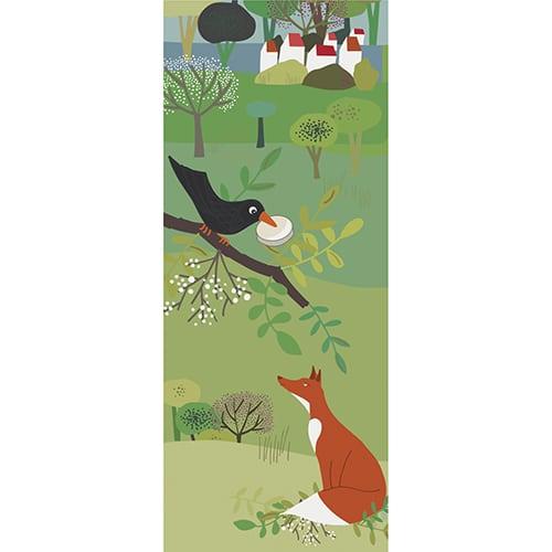 Stickers autocollants Corbeau et renard trompe l'œil