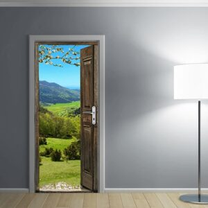 Sticker porte ancienne avec vue sur la montagne Alpage avec une lampe