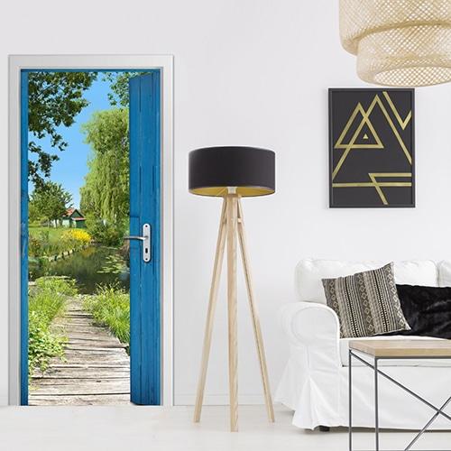 Sticker de porte Cabane des Marais dans un salon moderne style art déco bois cosy