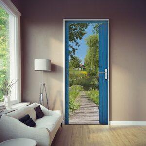 Sticker de porte adhésif cabane des Marais avec une lampe en face d'une fenêtre avec un mur couleur taupe et un canapé douillet ponton en bois