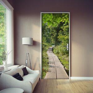 Sticker adhésif autocollant dans un salon cocooning moderne. La couleur des planches de bois de la photo s'accordent parfaitement avec des intérieurs apaisant et tendance.