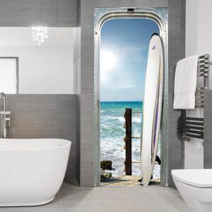Sticker déco pour porte avec un Surf sur l'océan dans une salle de bain