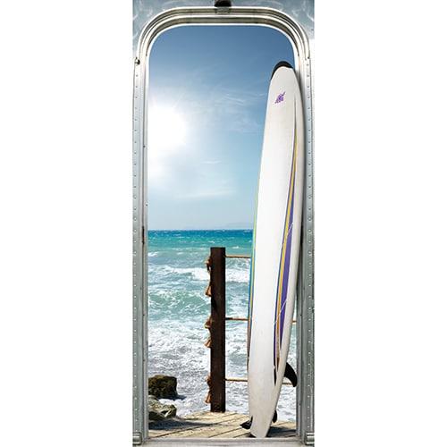 Autocollant à mettre au mur pour porte Surf sur l'océan