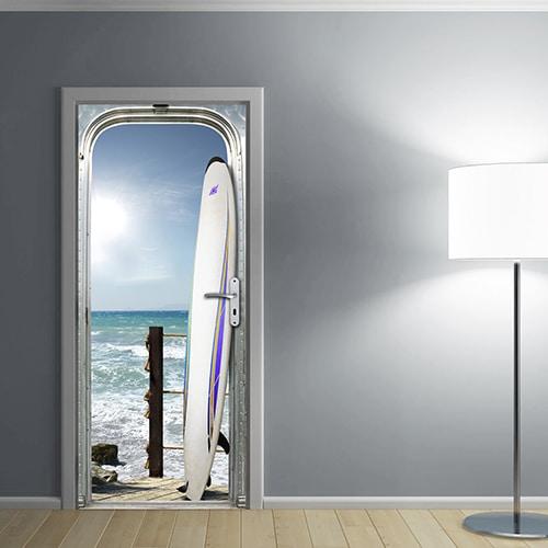 sticker adhésif déco pour porte Surf sur l'océan avec une lampe