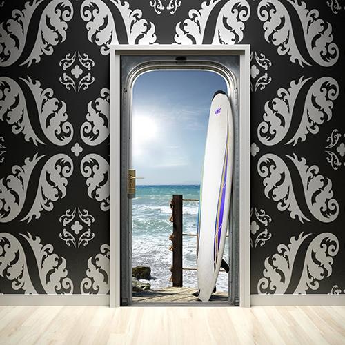 Autocollant déco pour porte Surf sur l'océan sur mur design