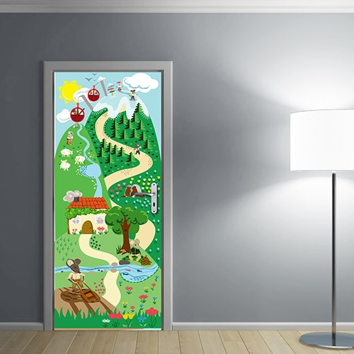 Une porte d'enfant déco avec notre sticker autocollant Souris !