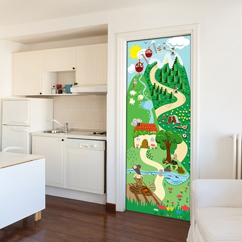 Chambre pour enfants dont la porte est décorée par un sticker autocollant décoratif vert à pois blancs