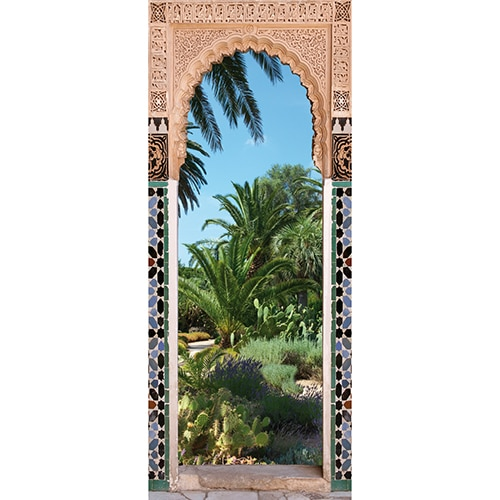 Adhésif autocollant sur jardin arabe style Riad avec palmiers et portes avec motifs des pays orientaux