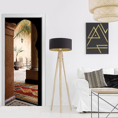 Sticker porte avec vue sur cour de maison arabe - Trompe l'oeil
