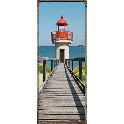Sticker adhésif porte trompe l'oeil avec vue sur la mer