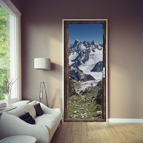 Sticker trompe l'oeil pour partir à la montagne et prendre de la hauteur chemin de pierre neige et sommets enneigés